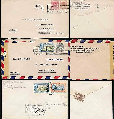 BAHAMAS 1940-51 KG6...3 COVERS to GB incl CENSOR...2 1/2d + 10d + 1s 6d
