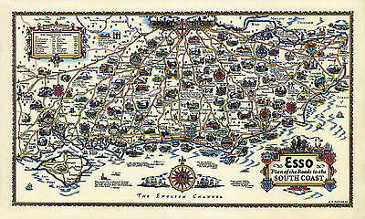Plan of the roads to the South Coast - Old Vintage poster - Decorative Map 1933