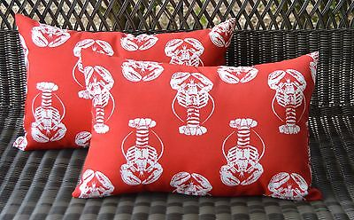 Set of 2 Red & White Lobster Coastal Beach Decorative Outdoor Rectangle Pillows