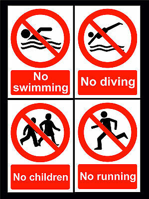 No Swimming / No Diving / No Running / No Children Signs All Sizes & Materials