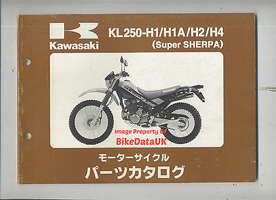 Kawasaki KL 250 H Sherpa (1997-2000) Fully Illustrated Parts List/Catalogue JAP