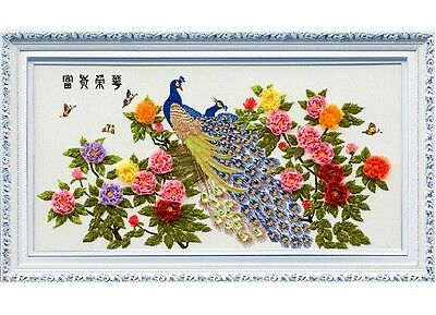 Ribbon Embroidery Kit Flowers and Peacock 130x70cm RE1013