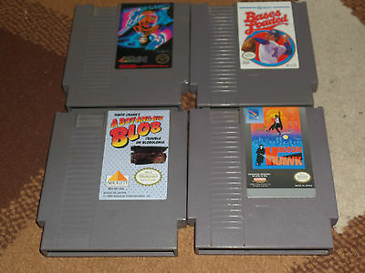 NES Nintendo 4 game lot,  A Boy and His Blob, Hudson Hawk, Winter Games etc
