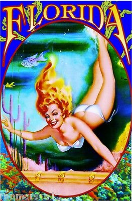 Florida Mermaid PinUp Girl United States of America Travel Advertisement Poster