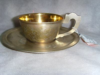 Vintage Coffee cup&saucer Russian Sterling Silver 875 1960's USSR 104gr