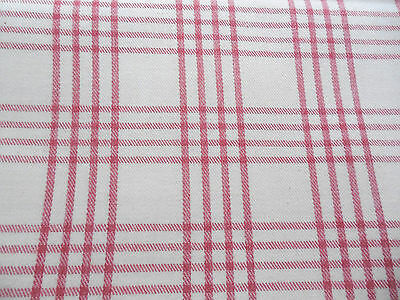 Vintage Brushed Cotton Twill Decorator Upholstery Fabric 48  x 108 Pink Plaid