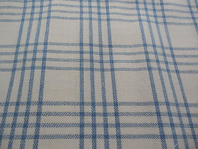 Vintage Brushed Cotton Twill Decorator Upholstery Fabric 48  x  90 Blue Plaid