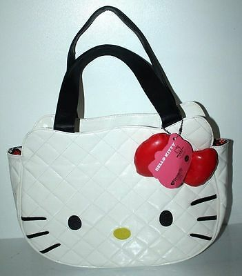 HELLO KITTY LARGE WHITE LOUNGEFLY TOTE HANDBAG FACE WITH BOW WOMEN SHOULDER BAG