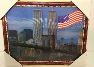 """World Trade Center Picture Framed 3D Twin Towers 13.5"""" X 10.5"""" New #3"""