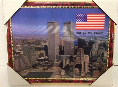 """World Trade Center Picture Framed 3D Twin Towers 13.5"""" X 10.5"""" New #4"""