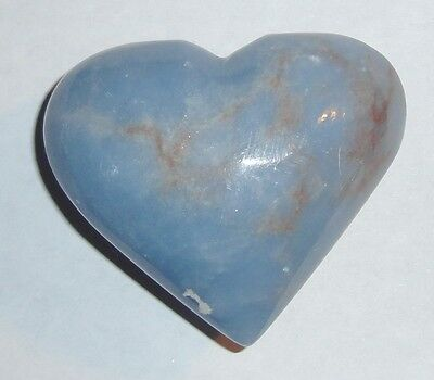 EXQUISITE ANGELITE CARVED HEART STONE 111 GRAMS