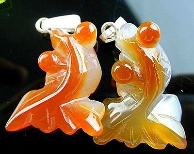 2Pcs Beautiful Unique Brown Red Onyx Agate Carved Goldfish Pendant Beads C5229