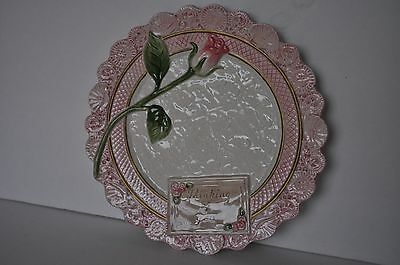 FITZ & FLOYD Thinking of You Pink & Ivory Scalloped Edge Collectible Plate