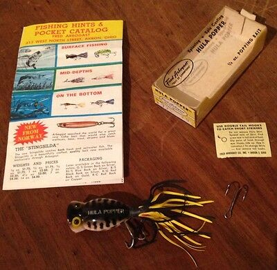 Vintage Fred Arbogast Hula Popper Fishing Lure In Box 770 K9 Popping Bait