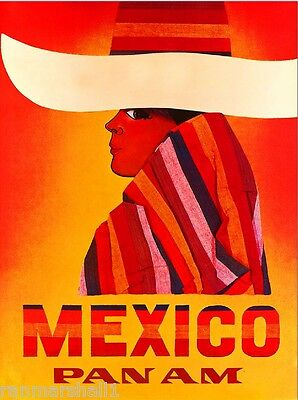 Mexico by Airplane Mexican Sombrero Vintage Travel Advertisement Art Poster