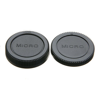 2pcs Body & Rear Lens Cap Cover Protective Case For Olympus M4/3 Camera Black