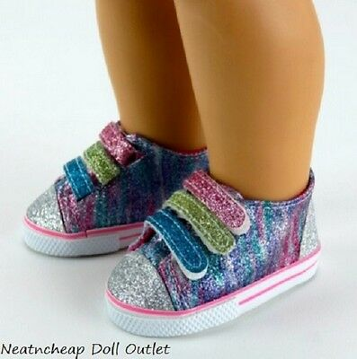 "Glitter Rainbow Tennis Shoes Sneakers Fits 18"" American Girl Doll NEW"