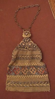 antique handmade embroidered beaded Victorian brass filigree clutch purse bag