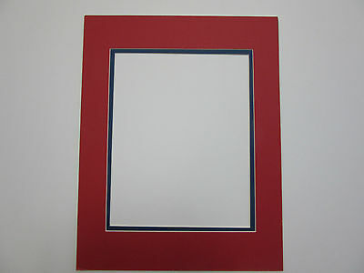 Picture Frame Double Mat 11x14 for 8x10 photo  Red with blue  liner