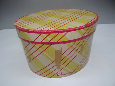 Retro Mod Used Hot Pink Lime Green Oval Cannon Ladies Department Store Hat Box