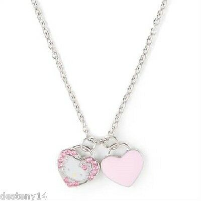 Hello Kitty Girls Heart Charms Pendant Necklace New