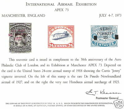 INVERTED JENNY & World Famous ERROR Airmail Reproductions on Souvenir Card!