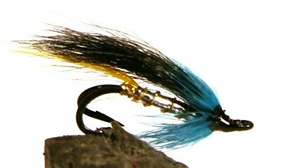 Salmon Fly,Black and Blue , Double Hook. (3-pack) Pick a size. Fly Fishing Fly