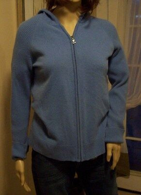 Daniel Bishop Hooded Size L Womens 100% Cashmere Sweater Blue Zip Closure
