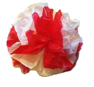 "25 Car Limo wedding Decoration Plastic Pom Poms Flower 4"" - red and white"