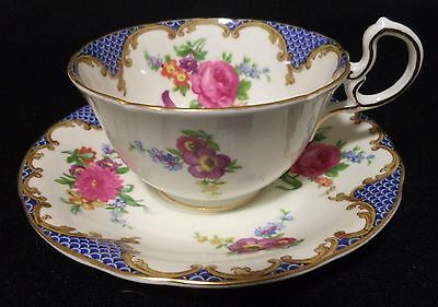 Aynsley Unusual Floral Cup and Saucer / Teacup