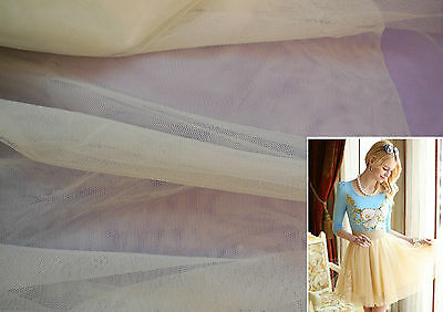 Ivory Champagne Soft Tulle Fabric for dress making DIY 160cm wide.Sold Per 0.5M