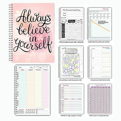 A Food Diet Diary Slimming World Compatible Weight Loss Tracker Journal Book SD