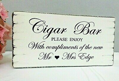Wedding Sign CIGAR BAR Personalised Vintage Wedding Table Sign Chic Shabby