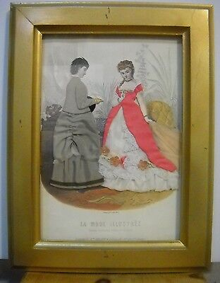 Vintage La Mode Illustree Paris Fabric Embellished Gold Frame Print Free Shipp
