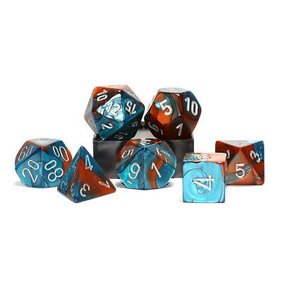 Polyhedral 7-Die Gemini Chessex Dice Set - Copper-Teal with Silver Numbers