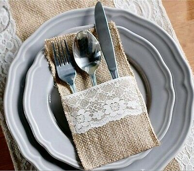 Cutlery Pockets x 10 Burlap and Lace Vintage Wedding Party Decorations