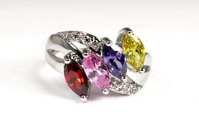 R#6066 simulated Multi Color gemstone Marquise cut ladies silver ring Size 10