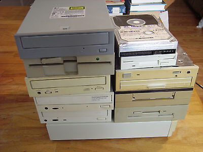 """Lot of 15 Vintage 1990s Computer Drives incl. Tape, CD, & 3.5"""" Disc"""