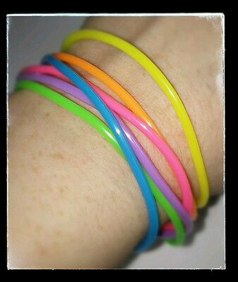 LOT OF 6PCS RAINBOW FUN NEON JELLY BRACELETS BANGLE CUFF BRACELET