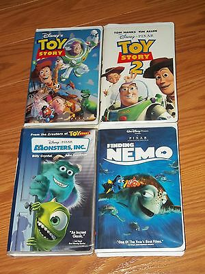 Lot of 4 Disney Pixar VHS Video Finding Nemo Toy Story Toy Story 2 Monsters Inc
