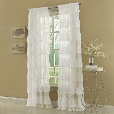 "Priscilla 60 x 63"" Layered Ruffled Panel Window Curtain Drapes Shade White Lace"