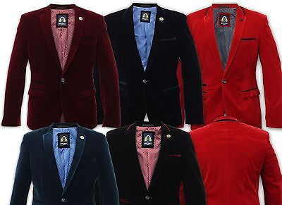 Mens Marc Darcy Designers Velvet Blazers Formal Dinner Weddings Suits Jacket