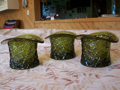 Carnival Glass, Top Hat, Green, Lot of 3