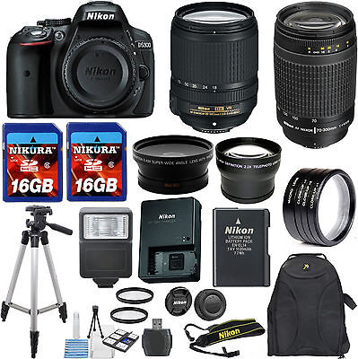 Nikon D5300 Camera Bundle with 18-140mm VR Zoom Lens + 70-300mm G Lens + 32GB ++
