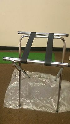 "32"" Chrome Tubular Restaurant Folding Metal Tray Stand ( One Each ) Heavy Duty"