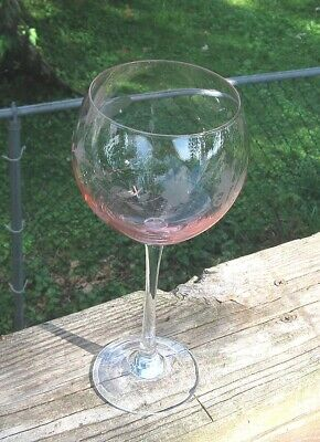 UNIQUE  wine goblet  Etched Butterfly,Dragonfly pink glass must see free ship!!