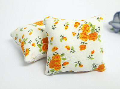 2PCS ORANGE FLOWER PILLOW FOR CUSHIONS SOFA COUCH BED 1/12 DOLLHOUSE MINIATURE
