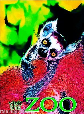 Visit the Zoo Lemur Wild Animals Park United States Advertisement Poster