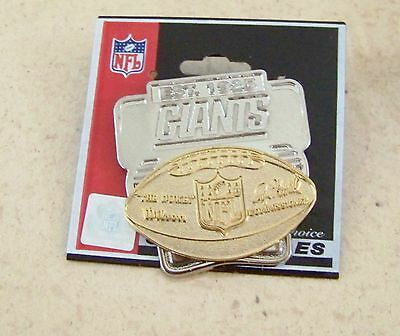 2008 NY N.Y. New York Giants gold tone football on silver tone pin