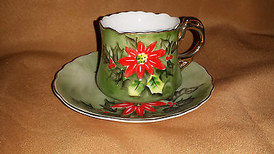 Vintage LEFTON Christmas POINSETTIA Demi CUP And SAUCER Limited Edition CHIP